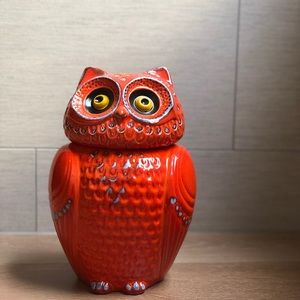 NWT Anthropologie owl cookie jar orange